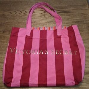 Victoria's Secret Canvas Tote Beach Bag Large Pink